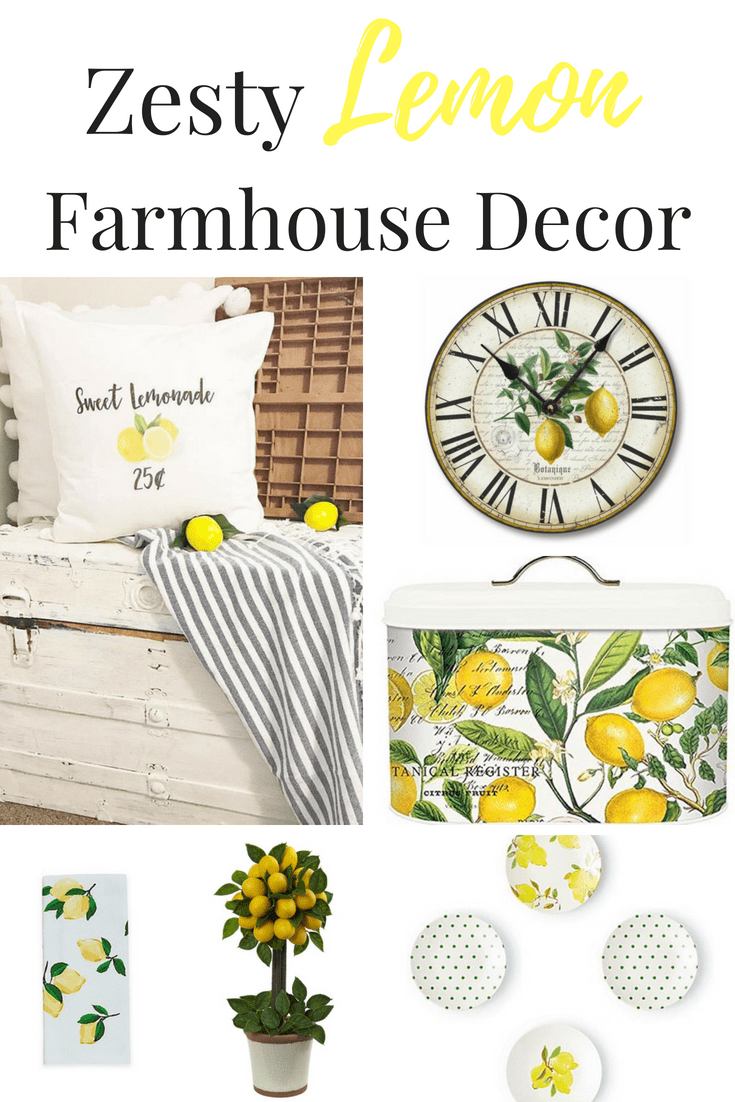 Zesty Lemon Farmhouse Decor for your home including a lemon clock, lemon pillows, lemon plates and more! #lemon #farmhousestyle #lemon decor