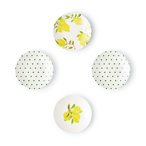 farmhouse lemon decor, kate spade lemon plates