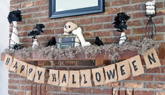 Halloween Mantel with Burlap Banner
