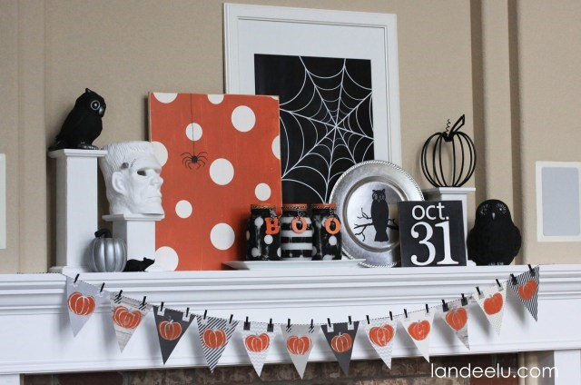 halloween mantel decoration  diy with printable