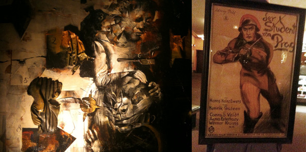 'Original poster and my painting of The Student of Prague from the Portage show last night.' -DM