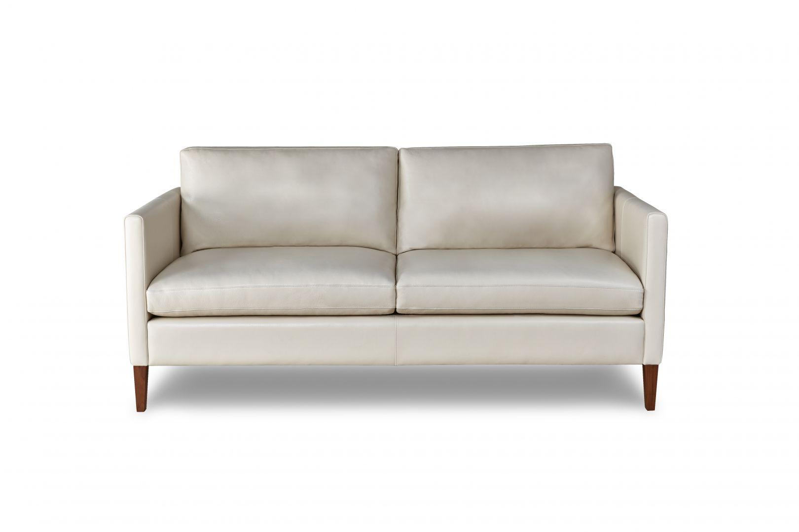 white leather wood sofa dark grey corner sofabed milo the century house madison wi