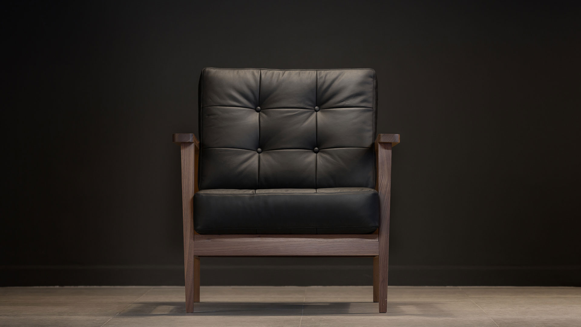Leather And Wood Chair The Mid Century Show Wood Armchair Black Leather