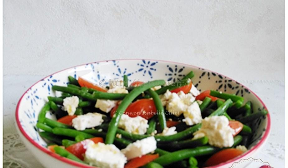 Salade de haricots verts tomates cerises et feta