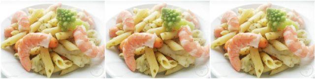 Pâtes au pistou, crevettes et légumes verts