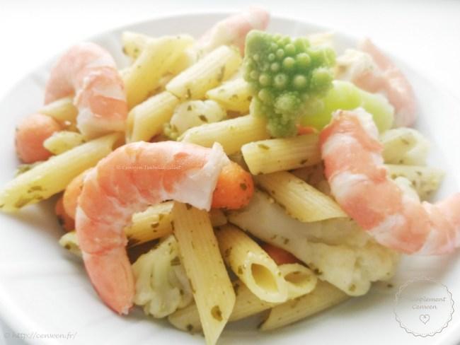Pâtes au pistou crevettes et légumes verts