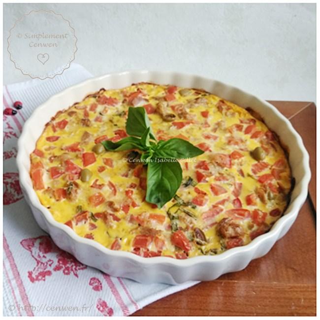 Clafoutis au thon, tomates et olives ~ Recette Weight Watchers : légère et gourmande de clafoutis avec du thon, des tomates et des olives