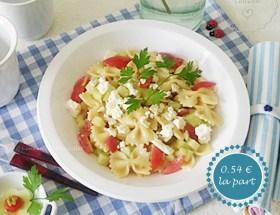 Salade composée : pâtes, concombre, tomates cerise, feta. Recette facile, gourmande, modulable, pour petit budget et fins de mois difficiles