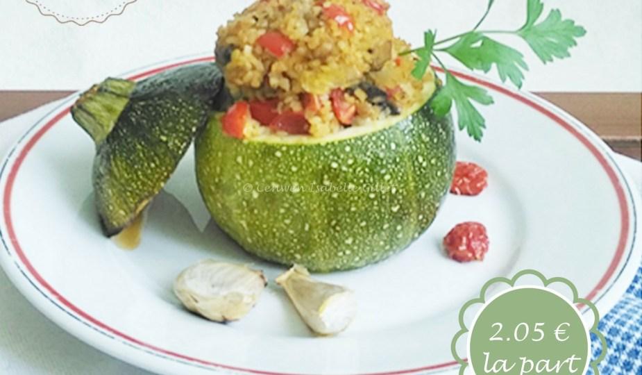Courgettes farcies végétariennes : boulgour et champignons et tomates cerise