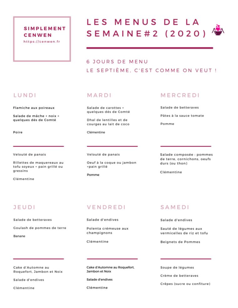 Les menus de la semaine #2, une semaine de menus pour petit budget et fins de mois difficiles. Pour manger sans ruiner son portemonnaie !