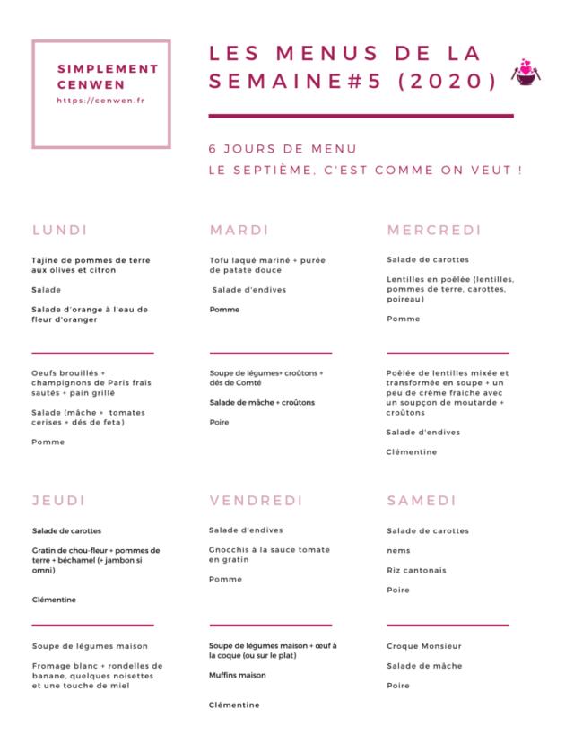 Blog de recettes petit budget et fins de mois difficiles : Les menus de la semaine