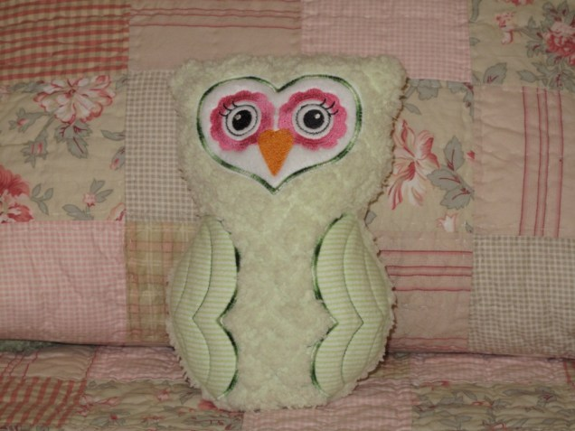 Machine Embroidered Stuffed Owl