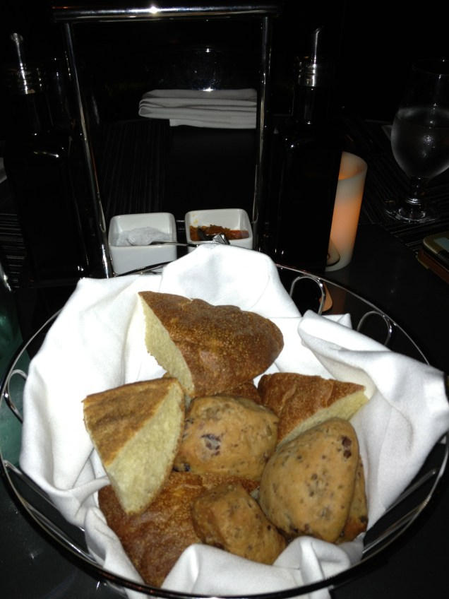 Freshly baked bread - Olive Bread and Potato Bread, served with Garlic Butter. Delicious!