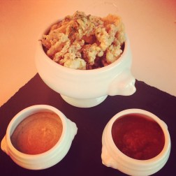 Venetian Frito Misto with Oysters, Calamari and Rock Shrimp accompanied by Spicy Marinara and Caper Remoulade