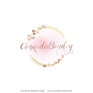Premade Logo - Blush Gold Butterflies