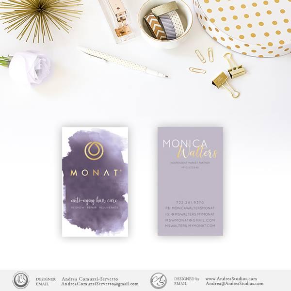 Monat Purple Watercolor Business Card