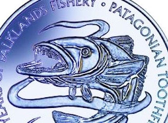 Malvinas acuña moneda para conmemorar 30 años del Departamento de Pesca