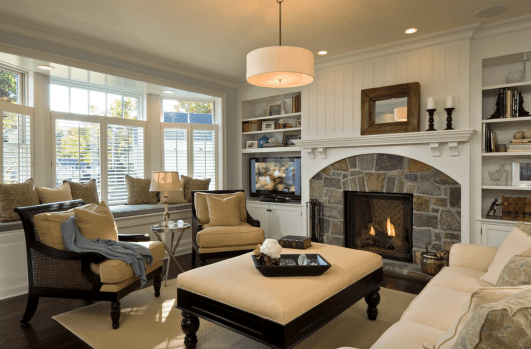 22 Beautiful Living Rooms With Fireplaces inside [keyword