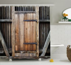 Antique Decor Shower Curtain Set Rustic Antique Wooden Door Exterior Facades Rural Barn Timber Weathered Bathroom Accessories 69w X 70l Inches throughout [keyword