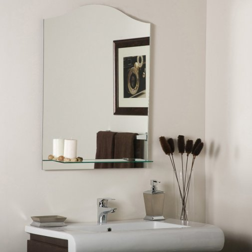Decor Wonderland Abigail Modern Frameless Bathroom Mirror With Shelf with regard to 24+ Fantastic Frameless Bathroom Mirrors