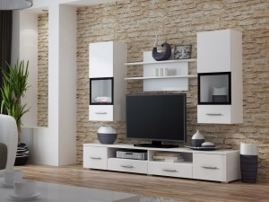 Details About Alto 1 Living Room White Wall Unit Entertainment Center Cabinet Tv Stand regarding 30+ Best Living Room Cabinets