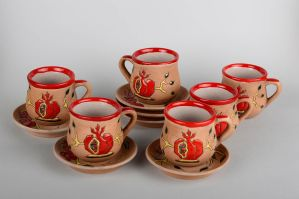 Handmade Cup Coffee Cup Set Of 6 Items Clay Coffee Cup Gift Ideas Clay Dishes for [keyword