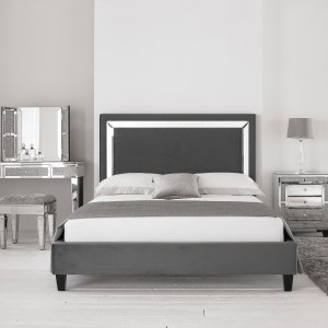 Harmony Mirrored Bed Frame Hyder Living in ucwords]