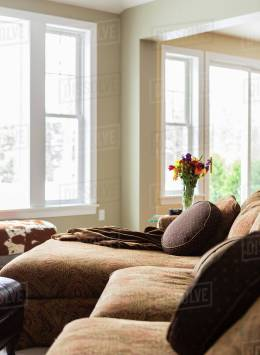 Pillows And Throw Blankets On Sofa In Living Room Stock Photo with 14+ Unique Living Room Pillows