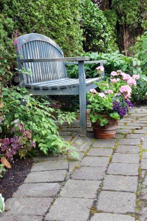 Rustic Garden Bench And Pink Geraniums Stock Photo Picture And with [keyword