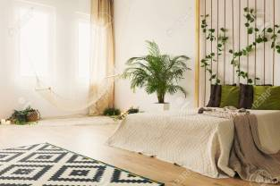 Sand Bedroom With Double Bed Hammock Plants And Rope Wall Stock pertaining to ucwords]