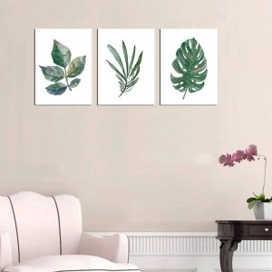 Us 182 18 Offnordic Wall Art Canvas Prints Simple Life Green Leaf Canvas Painting For Kitchen Bathroom Wall Decor Watercolor Drop Shipping In within [keyword