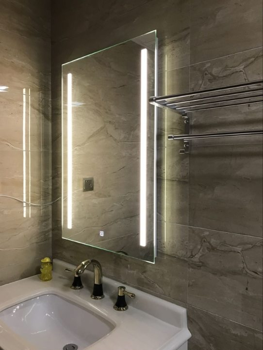 Us 2000 Waterproof Wall Mount Led Lighted Bathroom Mirror Vanity Defogger 2 Vertical Lights Rectangular Touch Light Mirror Bath Mirrors In Bath pertaining to ucwords]