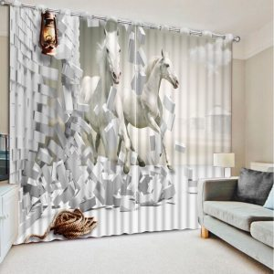 Us 645 57 Offlarge Window Curtains Sheer Living Room Curtains Home Decor Horse Photo Printed Drapes Children Bedroom Curtain Drapes In Curtains intended for ucwords]