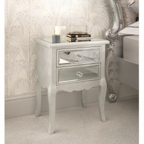 Venetian Mirrored Bedside Table Glass Mirrored Bedroom Furniture in [keyword