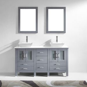 Virtu Usa Md 4305 S Gr Bradford 60 Double Square Sink White Engineered Stone Top Vanity In Grey With Polished Chrome Faucet And Mirrors within [keyword