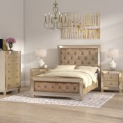 Willa Arlo Interiors Alasdair Mirrored Tufted Platform 4 Piece in ucwords]