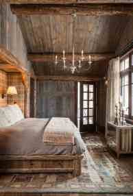 Wooden Ceiling And Walls In The Rustic Bedroom With Hanging in ucwords]