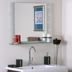Wyona Frameless Wall Mirror With Shelf regarding 24+ Fantastic Frameless Bathroom Mirrors