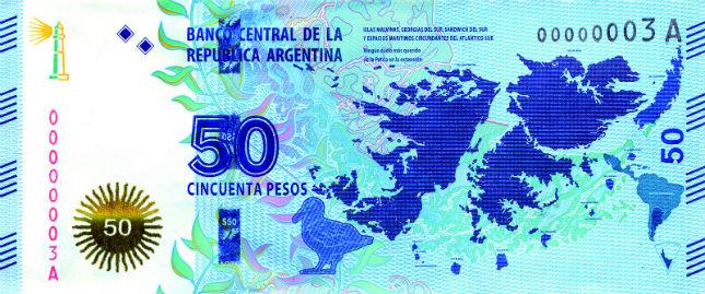 Anverso del nuevo billete de 50 pesos. Foto: BCRA