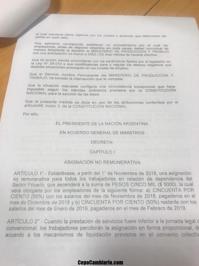 Texto del Decreto del bono de fin de año de $5000 para el sector privado