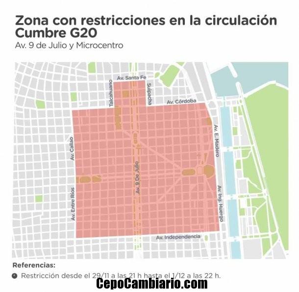 Mapa con todos los cortes de calles por la cumbre del G20 en la Ciudad