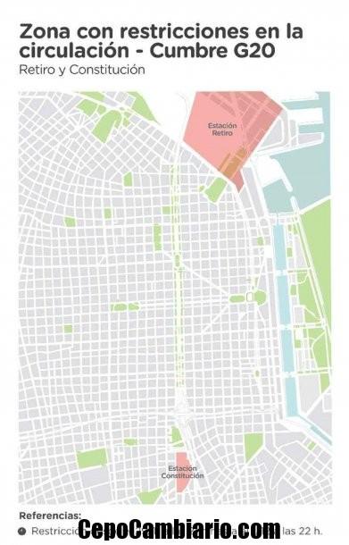 Mapa con todos los cortes de calles por la cumbre del G20 en la CiudadMapa con todos los cortes de calles por la cumbre del G20 en la Ciudad