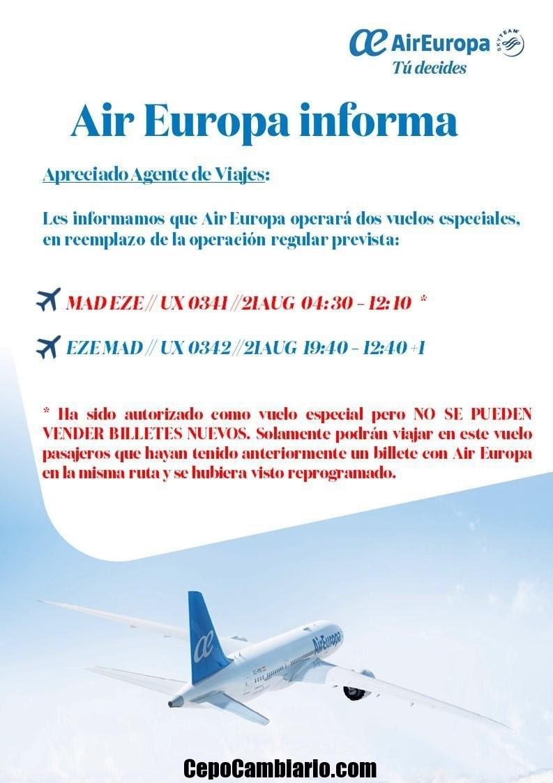 Air Europa informa a varados vuelo para el 22 de agosto