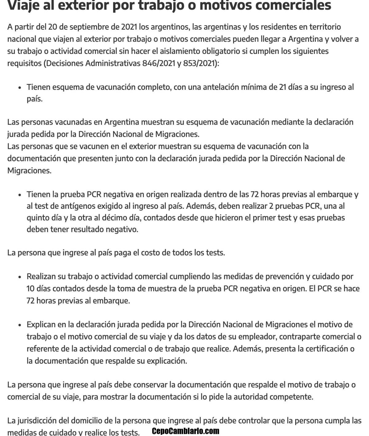 Argentinos y residentes que ingresen al país desde el 20 no deben hacer aislamiento en algunos casos