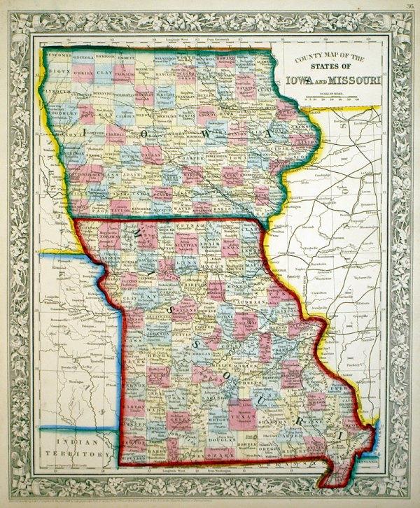 Iowa and Missouri c 1862 Mitchell M13337 17500