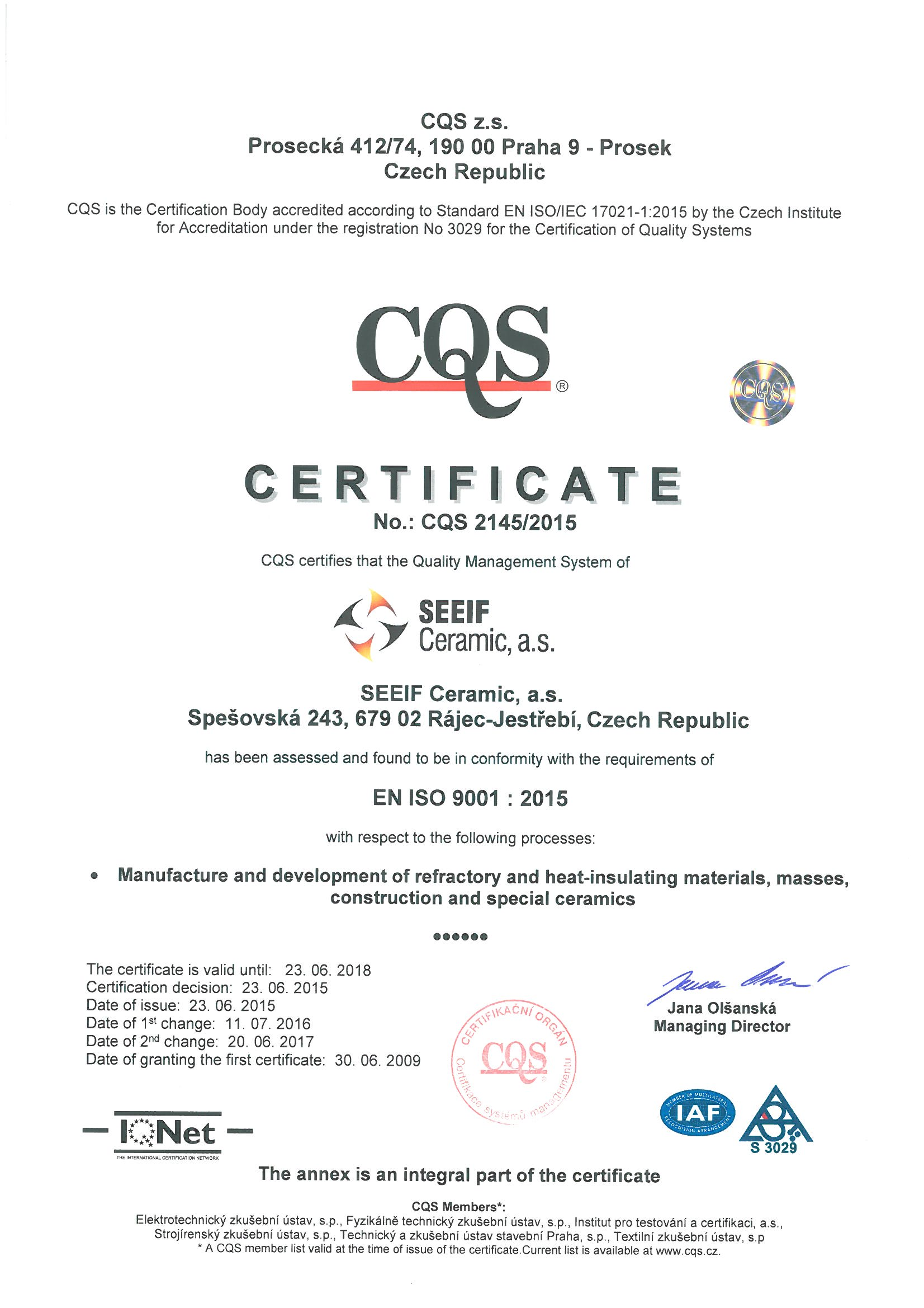 certifications and re mendation – seeif ceramic a s