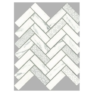 Signature Herringbone White Satin 30x98mm