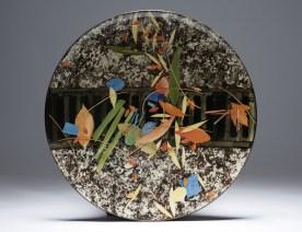 Large dish 'Grid, leaves and stalks'