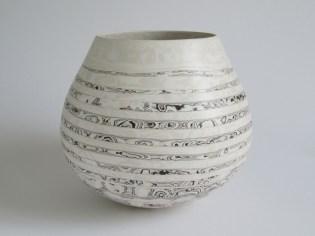 larger bowl - black/whites spiralled 22.5cm x26cm £300