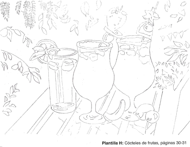 Bodegon acuarela Cocteles de frutas.